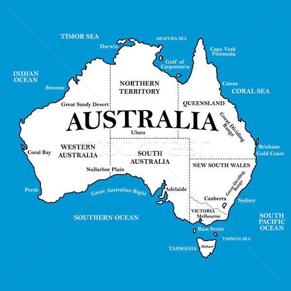 Mapa Australia azul mundo bandera color Foto stock © adamfaheydesigns