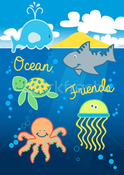 Ocean friends swimming under the sea with island Stock photo © adamfaheydesigns