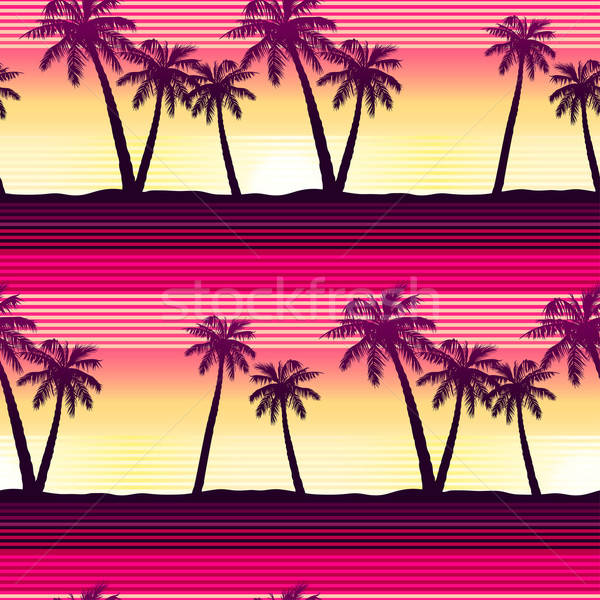 Tropical palms at sunset seamless pattern Stock photo © adamfaheydesigns