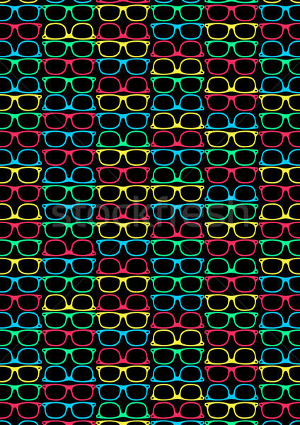 Colored glasses on a black background in a repeat pattern Stock photo © adamfaheydesigns