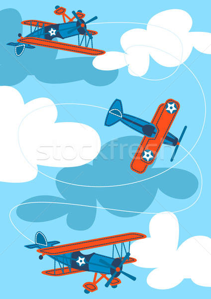 Vintage air planes flying in the sky Stock photo © adamfaheydesigns