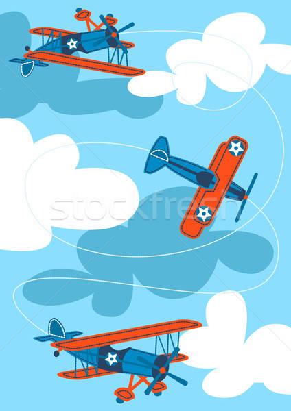 Klasszikus levegő repülőgépek repülés égbolt kék Stock fotó © adamfaheydesigns