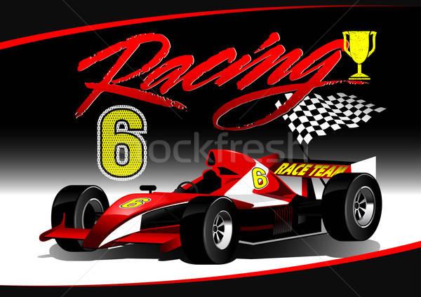 Red open wheel racing car with trophy Stock photo © adamfaheydesigns