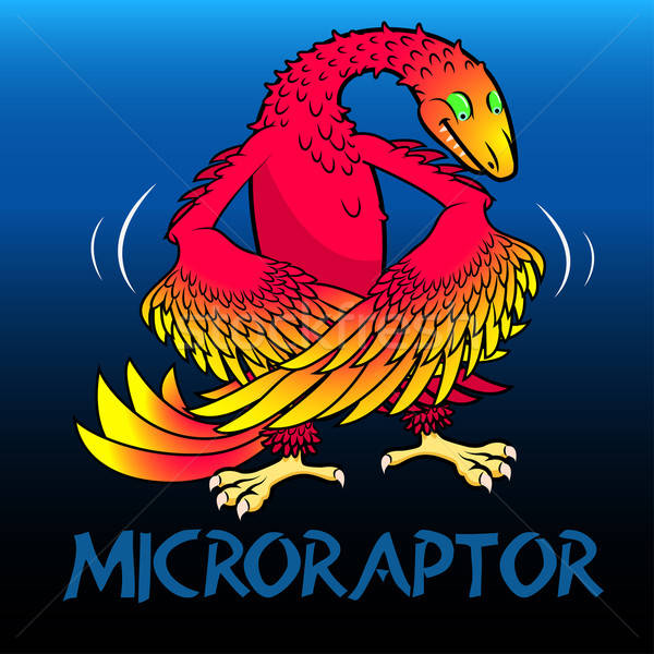 Microraptor cute character dinosaurs Stock photo © adamfaheydesigns