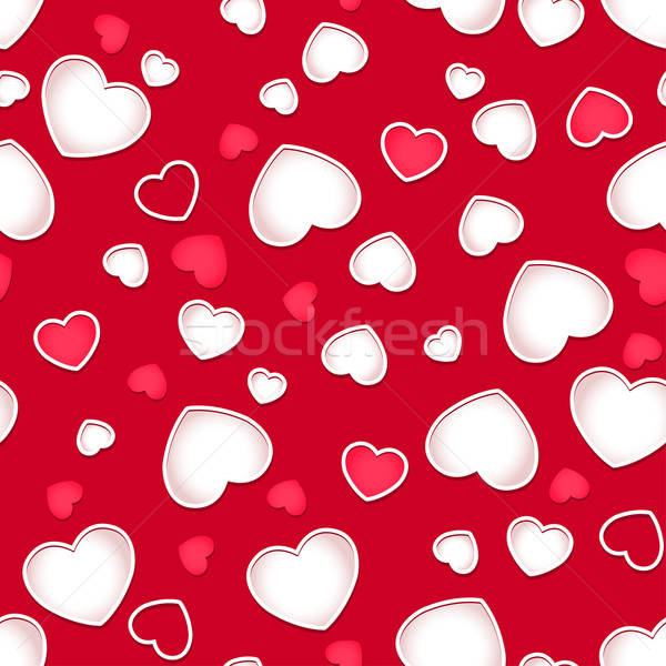 Cute hearts seamless pattern with a red background Stock photo © adamfaheydesigns