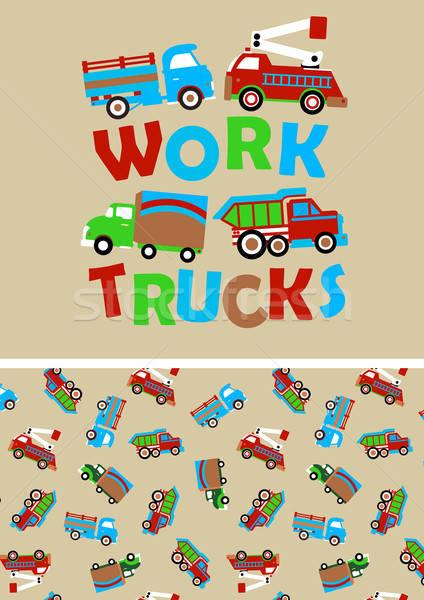 Munka teherautók összeillő ismétlés minta Stock fotó © adamfaheydesigns