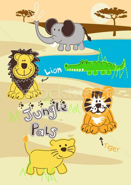 Jungle pals wild animals in Africa Stock photo © adamfaheydesigns