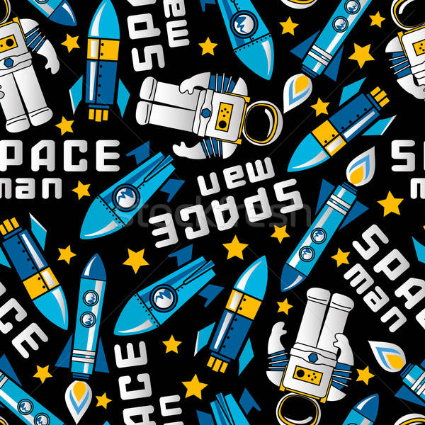 Space man and rockets in space seamless pattern Stock photo © adamfaheydesigns