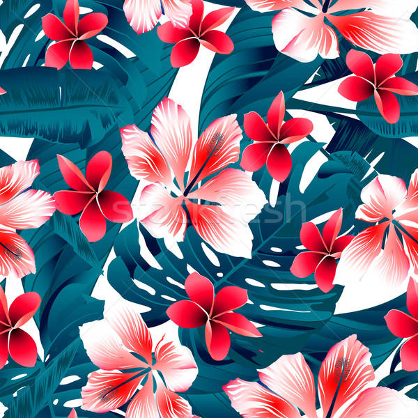 Red and white tropical hibiscus flowers seamless pattern Stock photo © adamfaheydesigns