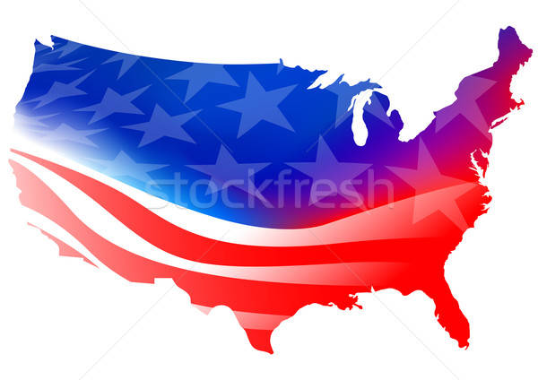 American map flag on a white background Stock photo © adamfaheydesigns