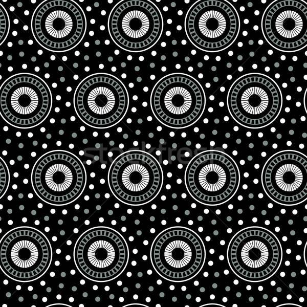 Blanche géométrique cercle blanc noir noir Photo stock © adamfaheydesigns