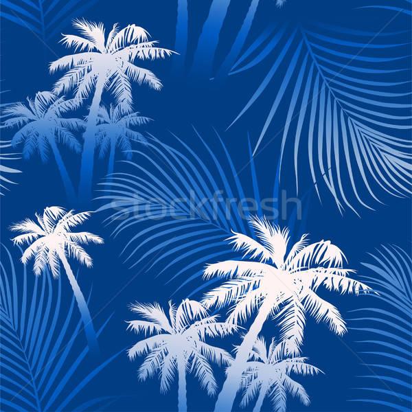 Trópusi nyár pálmafák végtelen minta tengerpart fa Stock fotó © adamfaheydesigns