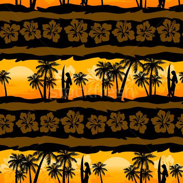 Tropical frangipani with palms sunrise seamless pattern Stock photo © adamfaheydesigns