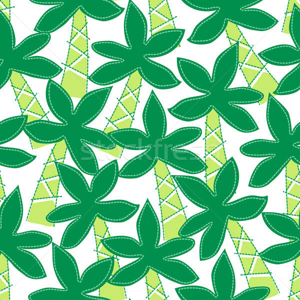 Cute tropical palm trees embroidery seamless pattern Stock photo © adamfaheydesigns