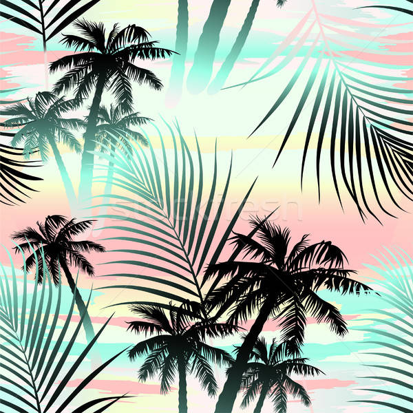 Tropical summer palms seamless pattern Stock photo © adamfaheydesigns