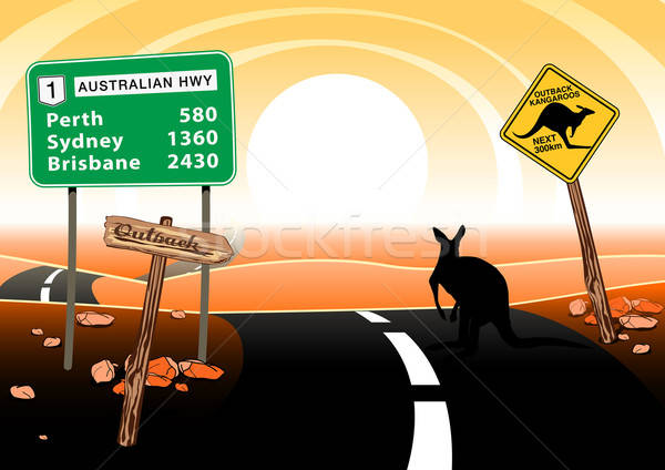 Kangaroo standing on road in the Australian outback Stock photo © adamfaheydesigns