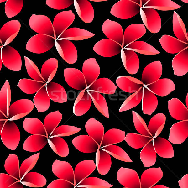 Red tropical frangipani with black background seamless pattern Stock photo © adamfaheydesigns