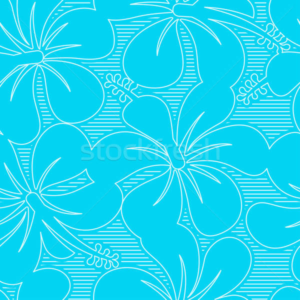 Light blue and white hibiscus lines seamless pattern Stock photo © adamfaheydesigns