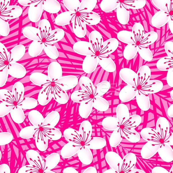 Small white tropical frangipani seamless pattern Stock photo © adamfaheydesigns