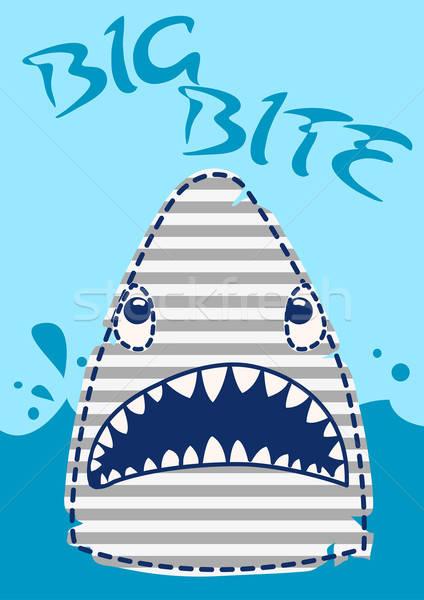 Grande morder tubarão bordado projeto peixe Foto stock © adamfaheydesigns
