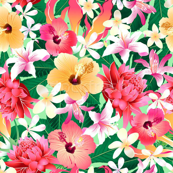 Tropical hibiscus floral 4 seamless pattern Stock photo © adamfaheydesigns