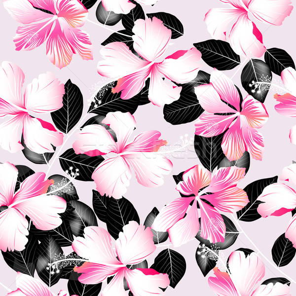 Tropical hibiscus flowers with black leaves seamless pattern Stock photo © adamfaheydesigns