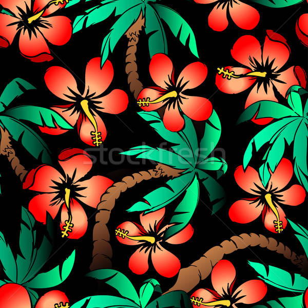 Hand drawn tropical palm and hibiscus seamless pattern Stock photo © adamfaheydesigns
