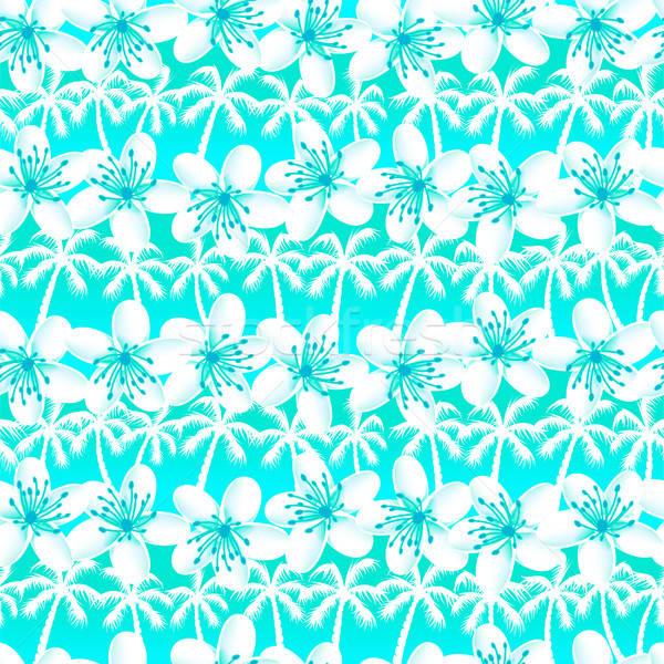 Green and Blue tropical frangipani with palm trees seamless patt Stock photo © adamfaheydesigns