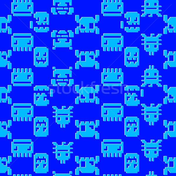 Számítógépes játék grafikus végtelen minta kék grafika Stock fotó © adamfaheydesigns