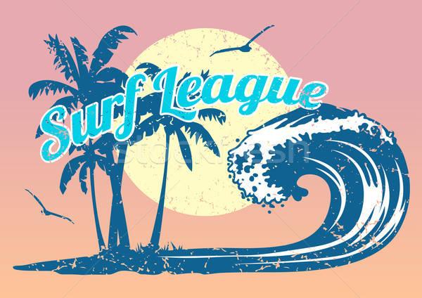 Szörfözik poszter hullám pálmafák sport absztrakt Stock fotó © adamfaheydesigns