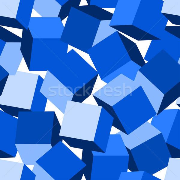 Blue 3D blocks in a seamless pattern Stock photo © adamfaheydesigns