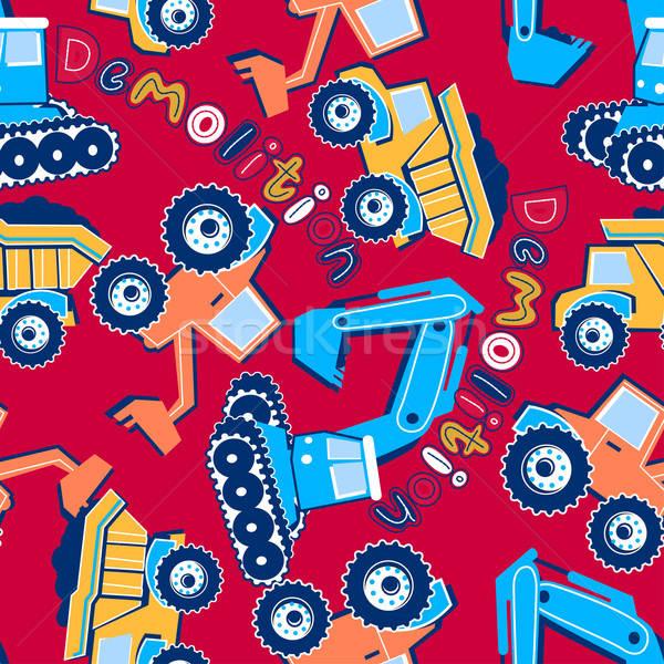 Rombolás járművek végtelen minta teherautó állvány Stock fotó © adamfaheydesigns