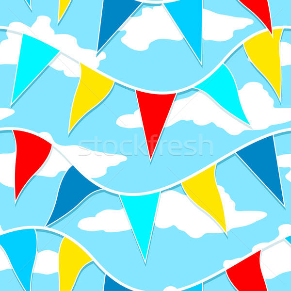 Flags hanging on a rope seamless pattern Stock photo © adamfaheydesigns