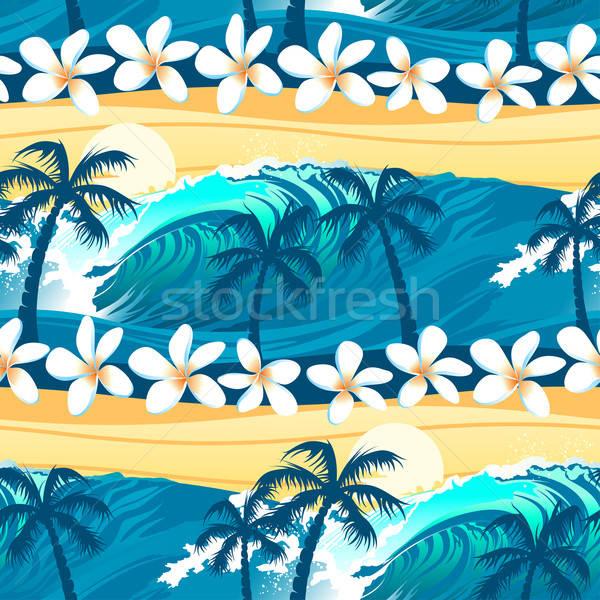 Trópusi szörfözik pálmafák végtelen minta virág víz Stock fotó © adamfaheydesigns