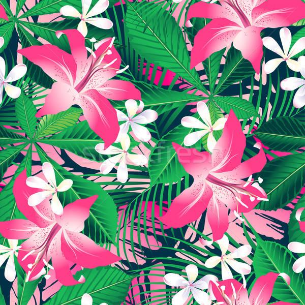 Trópusi hibiszkusz virágmintás végtelen minta Stock fotó © adamfaheydesigns