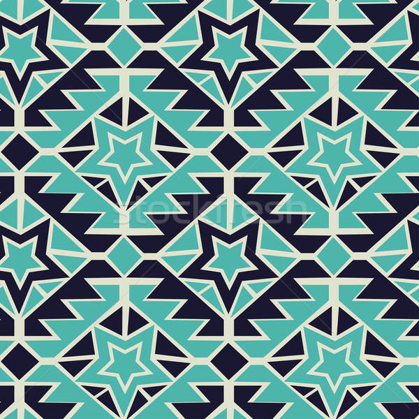 Tribal turquoise and navy geometric tribal seamless pattern Stock photo © adamfaheydesigns