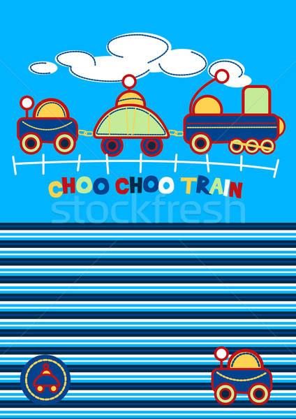 Vonat hímzés összeillő csík minta fiúk Stock fotó © adamfaheydesigns