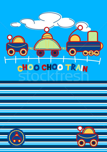 Choo Choo Train embroidery with matching stripe pattern Stock photo © adamfaheydesigns