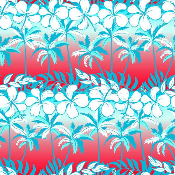 Tropical palm tree with hibiscus flowers and palms seamless patt Stock photo © adamfaheydesigns