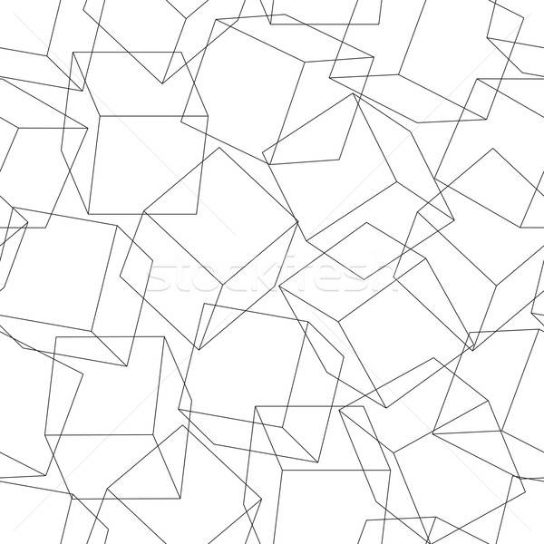 Wireframe 3D blocks in a seamless pattern Stock photo © adamfaheydesigns