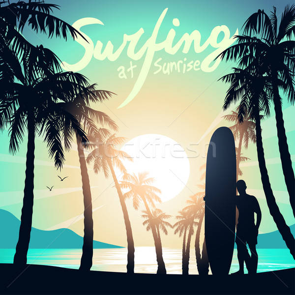 Surfing at Sunrise with a longboard surfer Stock photo © adamfaheydesigns