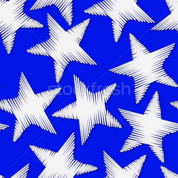 Branco estrela bordado fundo azul Foto stock © adamfaheydesigns