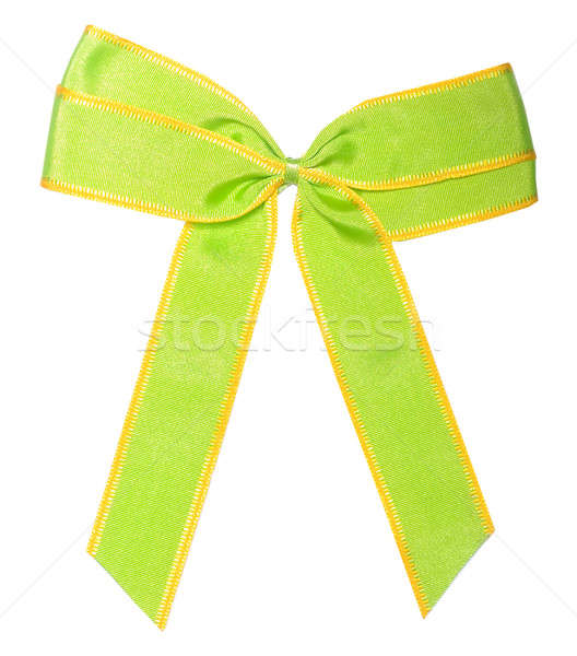 ストックフォト: 緑 · サテン · リボン · 弓 · 白