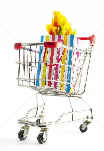 gift bag in a shopping cart Stock photo © advanbrunschot