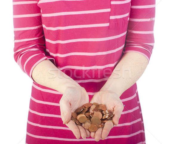 монетами женщины ночная рубашка стороны женщину Сток-фото © advanbrunschot