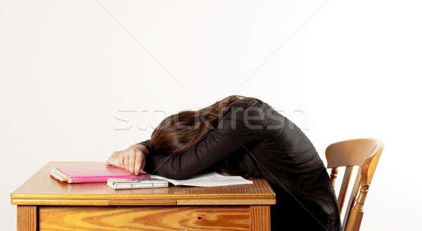 Kız tembel uyku eğitim kafa tablo Stok fotoğraf © advanbrunschot