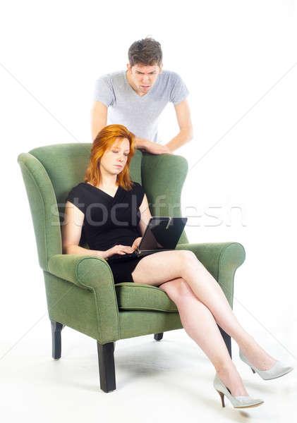 нет испуг жизни компьютер девушки мальчика Сток-фото © advanbrunschot