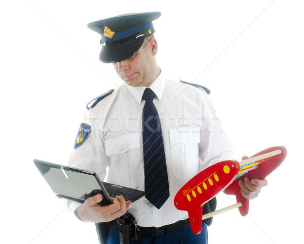 Polis netbook'lar abaküs adam modern Stok fotoğraf © advanbrunschot