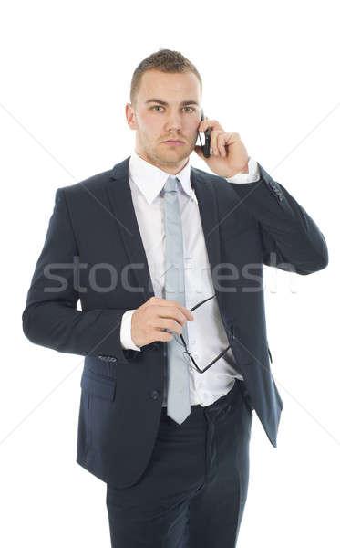 Empresario teléfono blanco teléfono hombres de trabajo Foto stock © advanbrunschot