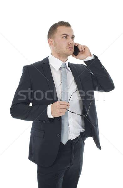 Empresario teléfono blanco hombres gafas retrato Foto stock © advanbrunschot